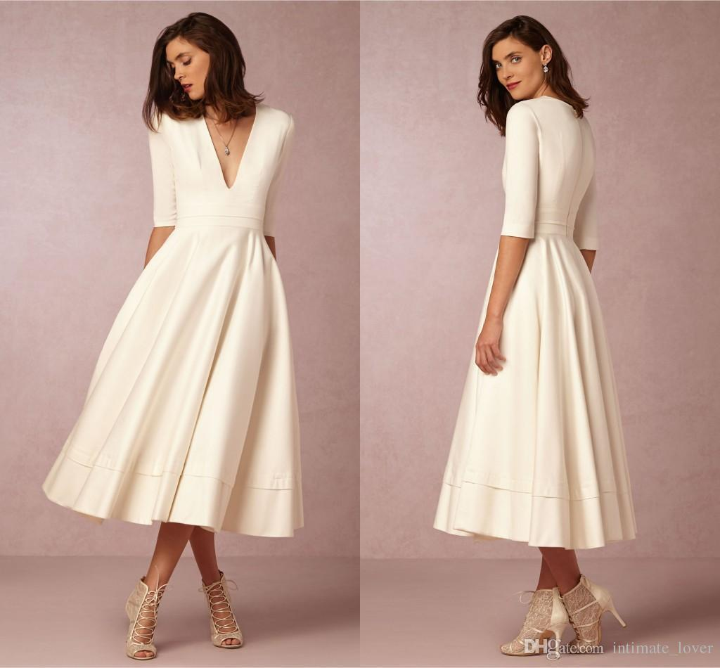 Simple Wedding Gowns 2017: Discount Modest Simple 2017 Wedding Dress Cheap V Neck