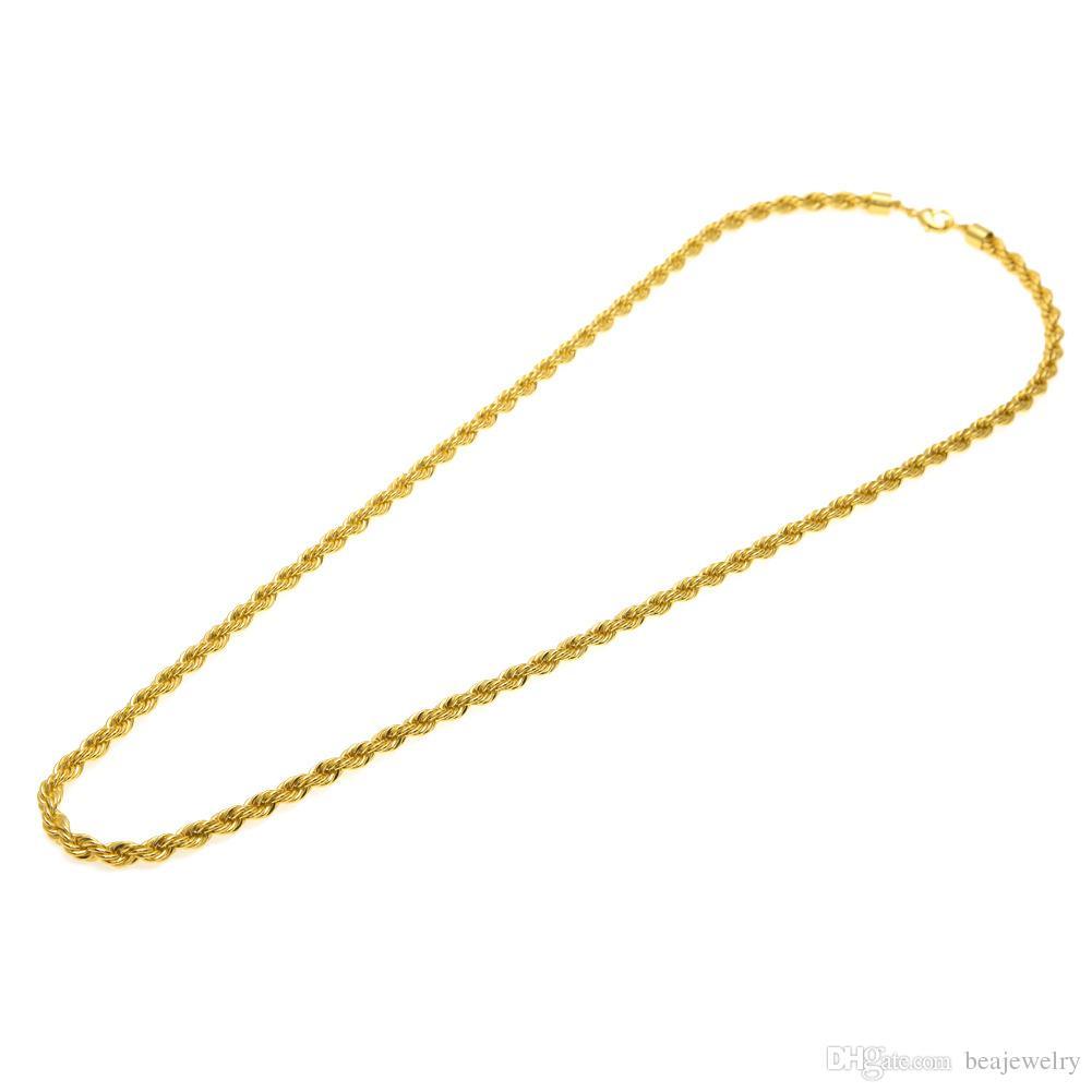 6,5 mm di spessore 80 cm di corda solida lunga intrecciata catena 14k oro placcato argento hip hop intrecciata collana pesante 160 grammi uomo