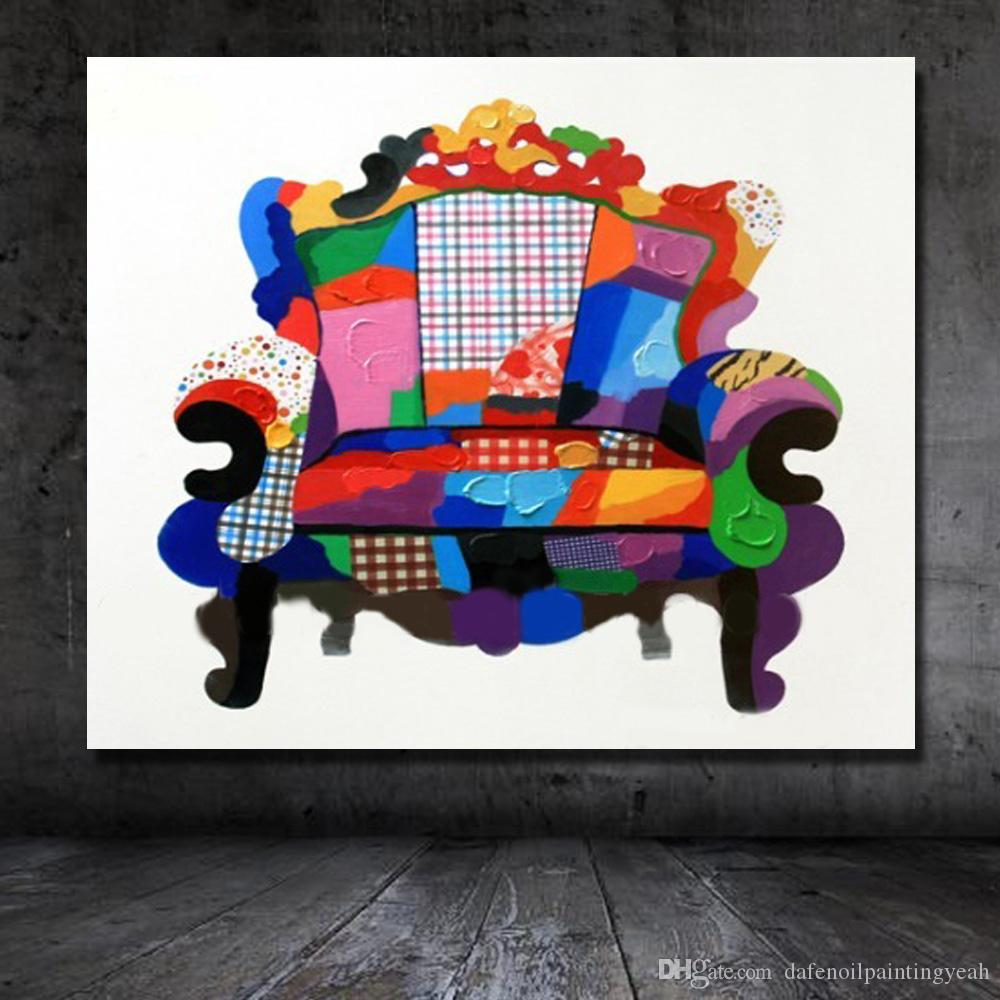 Nice Modern Chair Painting on Canvas Home Decor Living Room Wall Pictures Hand made Oil Painting Home Wall Art Pictures No framed
