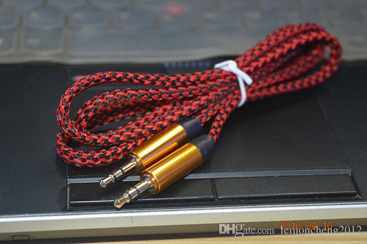 휴대 전화 남성 케이블에 묶어 줘 보조 오디오 케이블 금속 커넥터 자동차 오디오 연장 케이블 1M 3 피트 3.5MM 남성