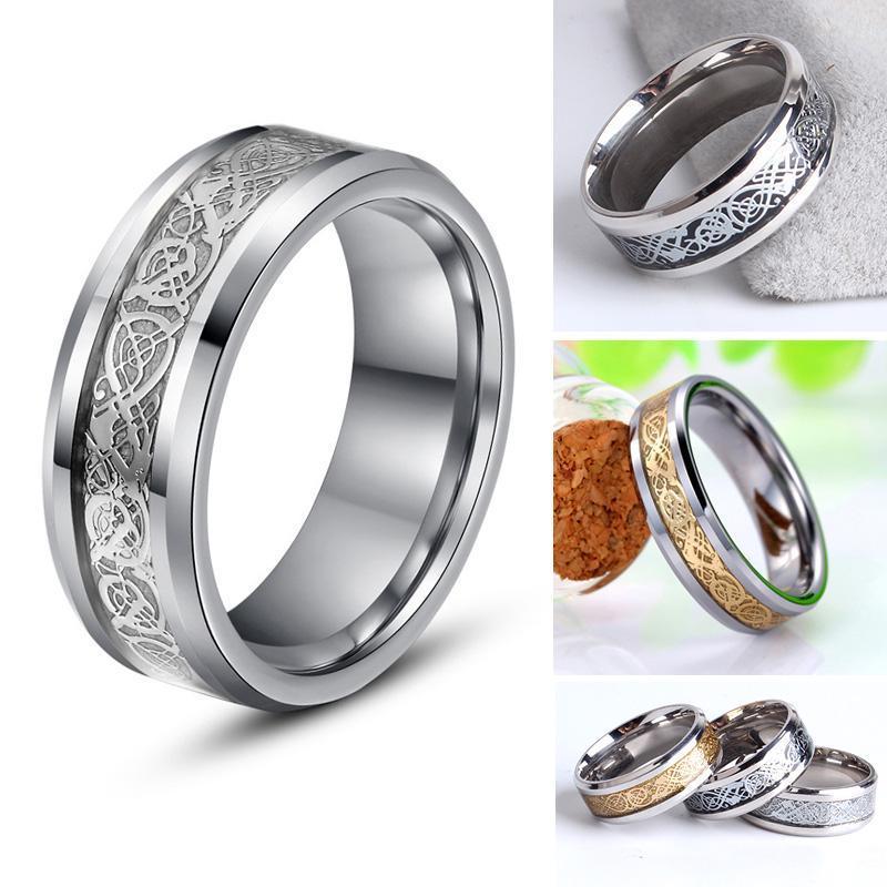 Joyería de acero titanium venta al por mayor anillo de acero inoxidable 316L incrustaciones de plata pieza dragón banda para las mujeres hombres