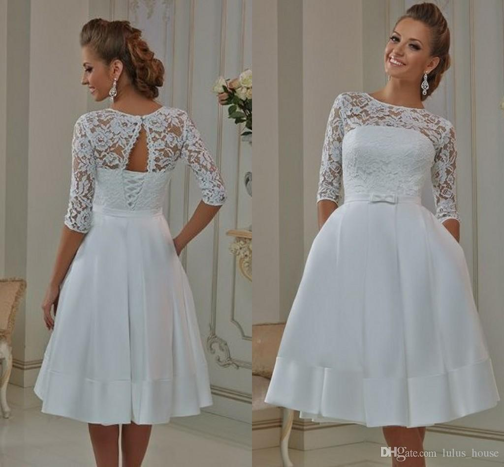731415061a33 Discount 22017 Plus Size Knee Length A Line Vintage Short Wedding Dresses  Lace Gowns 3/4 Long Sleeves Knee Length Beach Scoop Neck Hollow Back Simple  Bridal ...