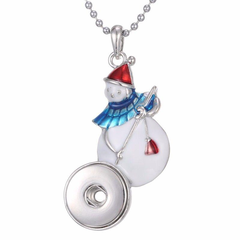 12 стили Нуса Рождество Snap ювелирные изделия Снеговик Snap кнопка кулон ожерелье Fit 18 мм Snap ювелирные изделия Рождественский подарок кнопки колье Оптовая