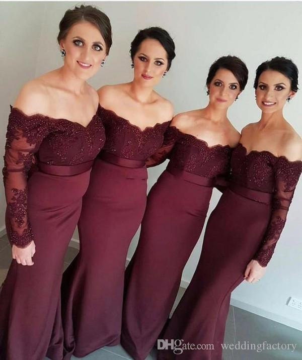 Elegant Long Bridesmaid Dress Off the Shoulder Grape Purple Maroon Maid of Honor Gowns for Wedding Party Beaded Lace Appliques