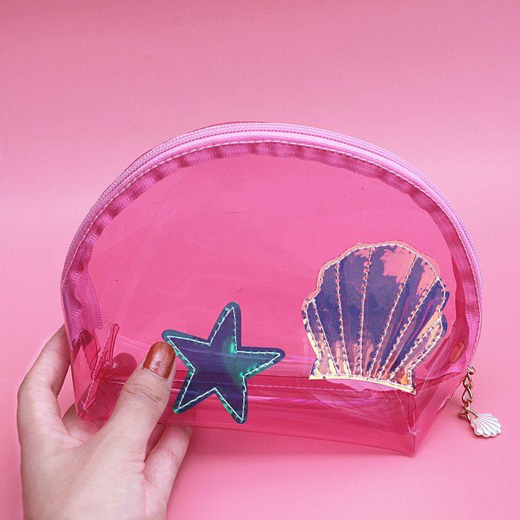 Cute PVC Girls Transparent Cosmetic Bag Clutch Pouch Shell Handbag Clear Female Travel Makeup Bag Travel Toiletry Bag