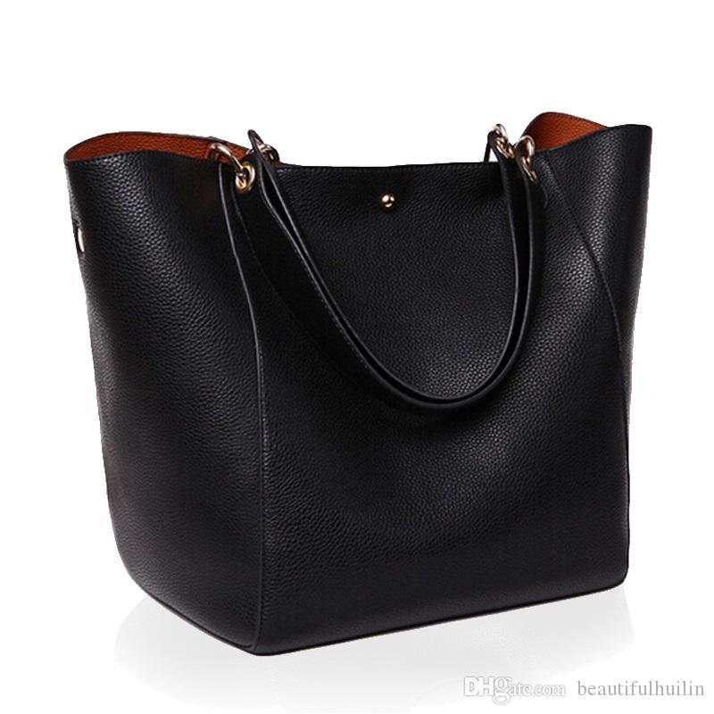 c9b5b11909e94 Großhandel HLB031 Luxus Frauen Messenger Schultertasche Große Pu Leder  Tasche Weibliche Echte Schwarze Handtasche Berühmte Marke Dame Tote  Umhängetasche Sac ...