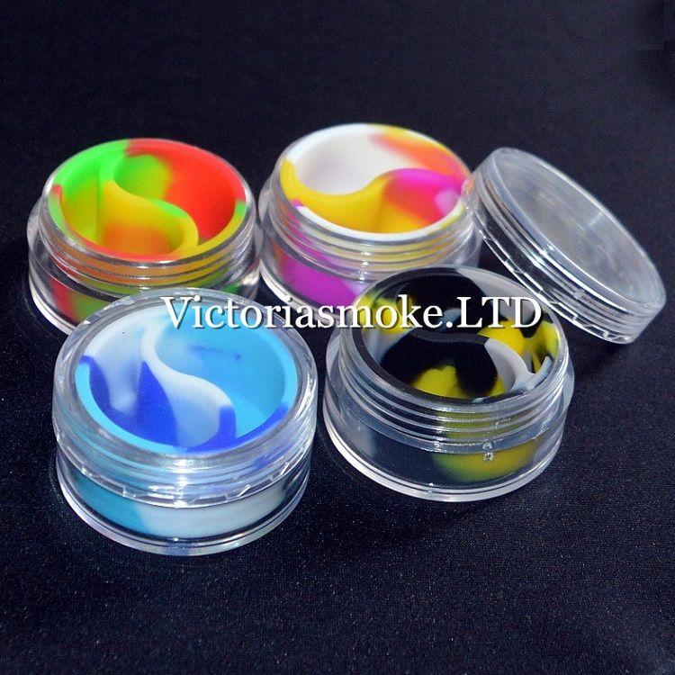 Recipiente de cera de silicona acrílico de alta calidad más nuevo / envase de silicona Recipiente de cera de cera 10ml Contenedor para cera de cera de cera Contenedor de silicona para cera