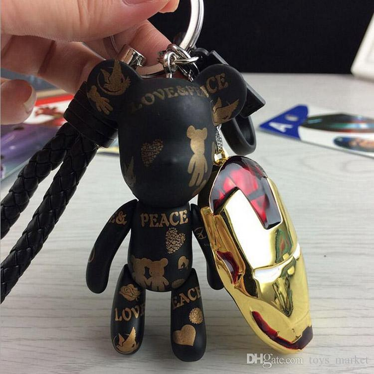 Alloy Super Hero The Avengers Marvel Marvel Iron Man Mask Superman Cartoon Violence Bear Metal Keychain Pendant Key Chains