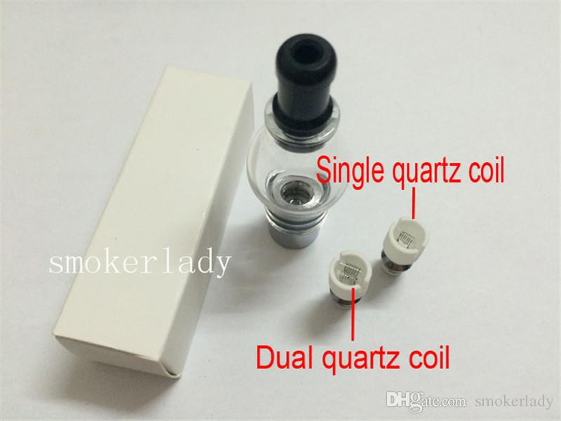 DHL Free Wax Coils Glass Globe Atomizer Dry Herb Vaporizer Replacement Wax Vapor Tank with Quartz Coil Head for EGO T Evod Battery