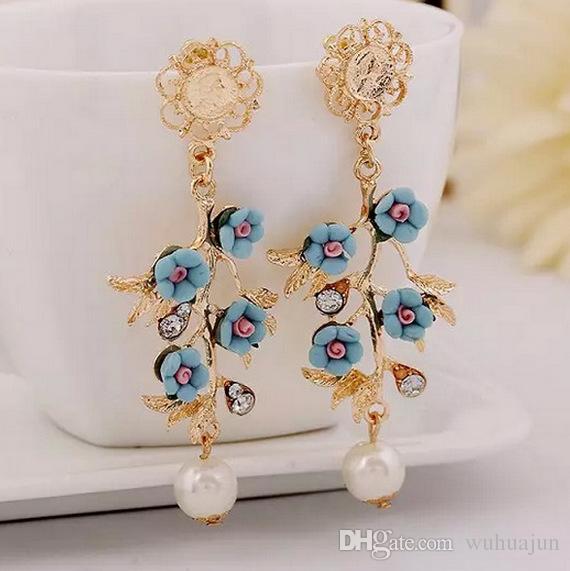 Europäische Schmuck Perle Stud, Frauen Vintage Barock Stil Blume Ohrringe 10PRS Baum Geformte Exquisite Ohrringe Blau / Rosa / Grün Farbe Ohrring