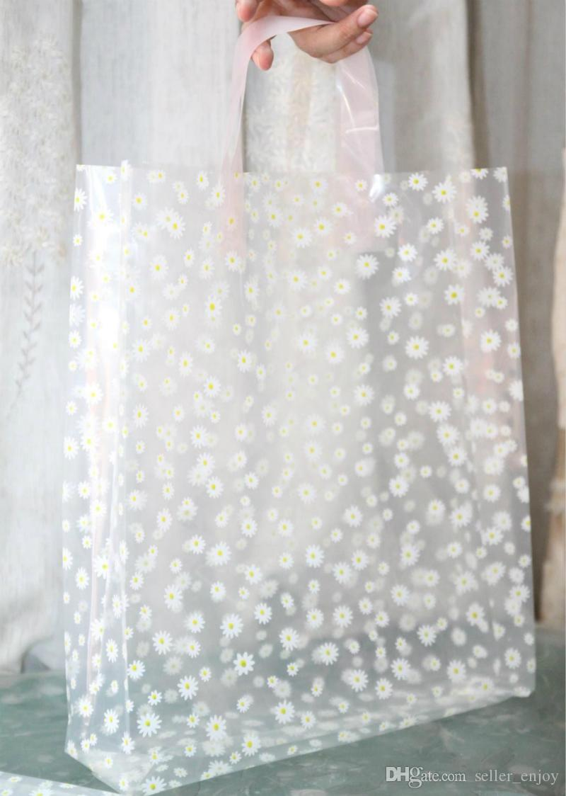 Transparent Floral Shopping Bags 24 34cm With Handle Gift