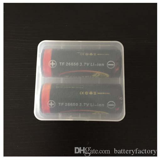 Alta qualità 26650 Clear White E-cigs Contenitore batterie in plastica Contenitore scatole Contenitore contenitori 2 * 26650 batterie mod meccaniche