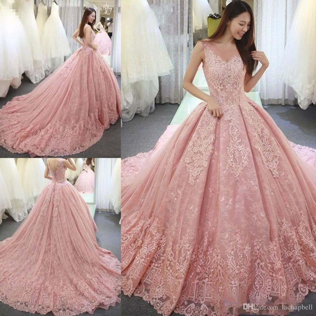 2017 Luxurious Blush Pink Quinceanera Dresses Ball Gown Sheer Scoop ...