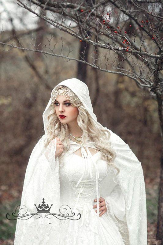 Robes de mariée en dentelle gothique renaissance avec robe de cape, plus la taille Vintage Bell manches longues celtique princesse médiévale robe de mariée
