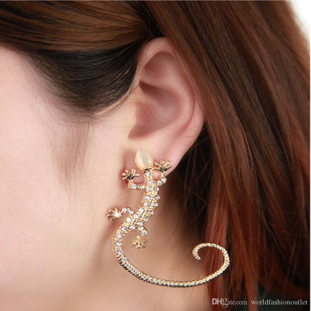 Earcuff Moda Ear Cuff Rhinestone brincos de prata banhado a ouro lagarto brincos super fofo cristal clipe em brincos para as mulheres Jóias