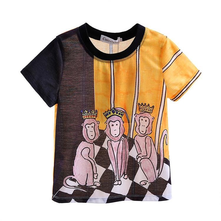 Cutestyles New Designs мальчиков футболки Мода мультфильм Обезьяна Pattern Дети Топы лето Маленькие мальчики носят BT90324-20L