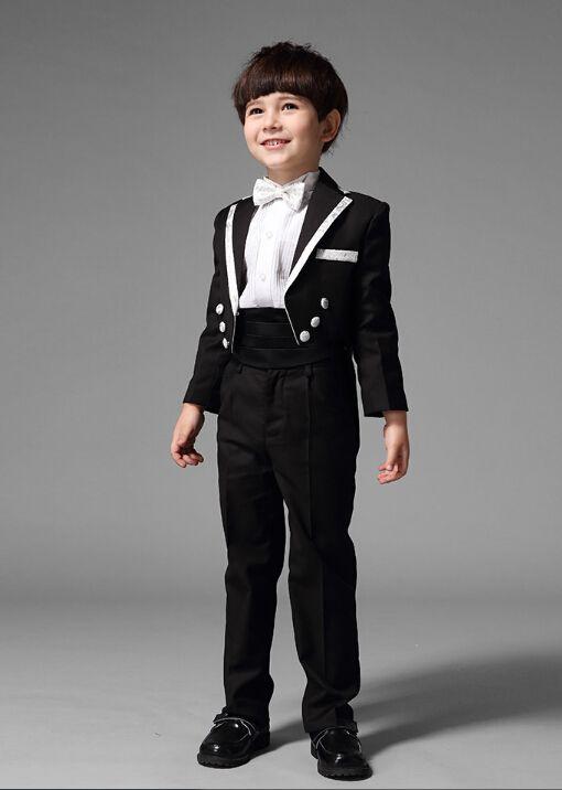 .Children suits The boy tuxedo suits flower boys gown show formal wear assorted colors suits jacket+pants+belt Custom made