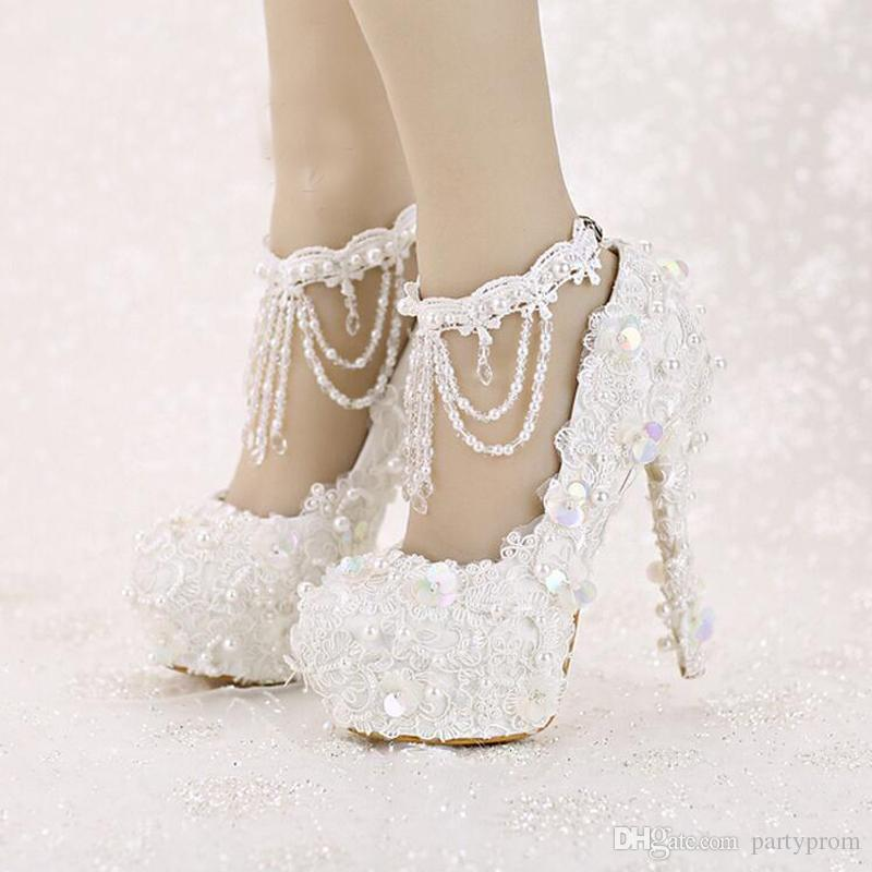 9b67c4ed8472 Sweet White Bride Shoes High Heel Platform Lace Strap Dress Shoes Sequined  Tassels Wedding Shoes With Beautiful Ankle Straps Anella Bridal Shoes  Bellissima ...