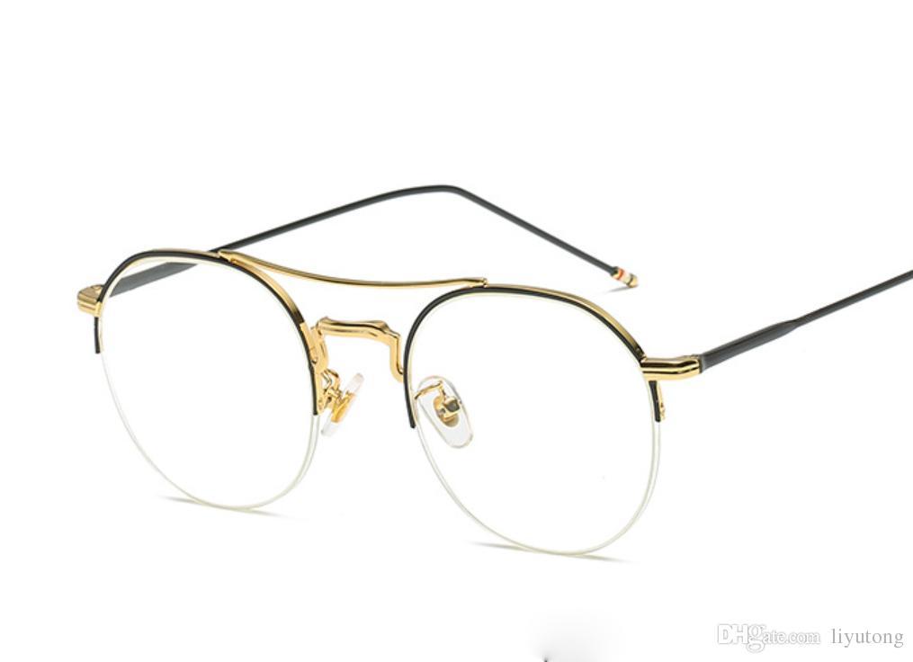 5453873d73 2019 New Fashion Glasses Lens Frames Round Transparent Lens Ordinary Glass  Mirror Half Frame Metal Optics Retro Eyewear Men S Vista Glasses From  Liyutong