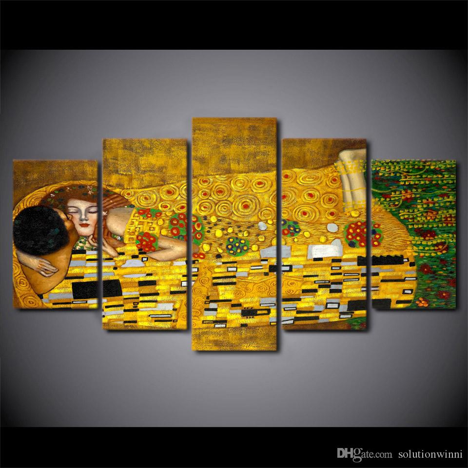 5 Pcs/Set Framed HD Printed Gustav Klimt Kiss Artistic Picture Wall Art Canvas Print Still Life Poster Canvas Oil Painting