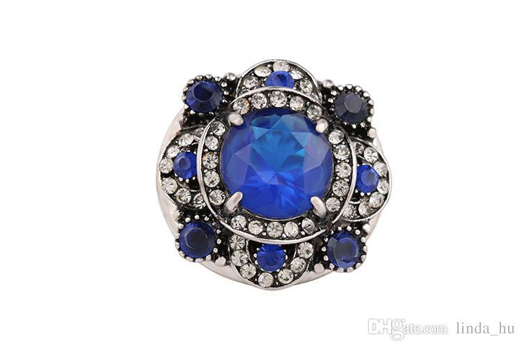 2016 verano caliente anillo de cristal grande de Europa y América Moda generosa anillo de ágata joyería al por mayor joyería de las mujeres