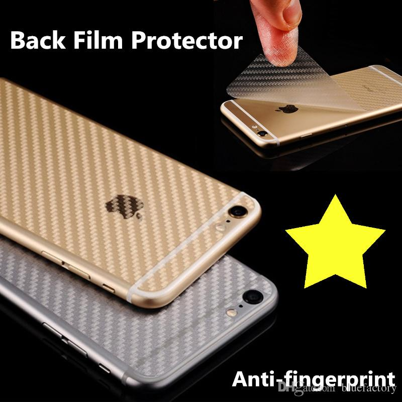 wholesale dealer 756fc 15462 For iPhone XS XR 8 Plus 3D Anti-fingerprint Cover Clear Carbon Fiber Back  Screen Protector Film Wrap Skin Stickers For iphone 7 6s plus