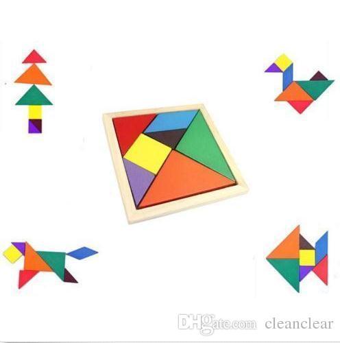 Renk ahşap Tangram Çocuklar Diy Zeka Bulmaca Erken Öğrenme Eğitim Gelişim Çocuk Oyuncak