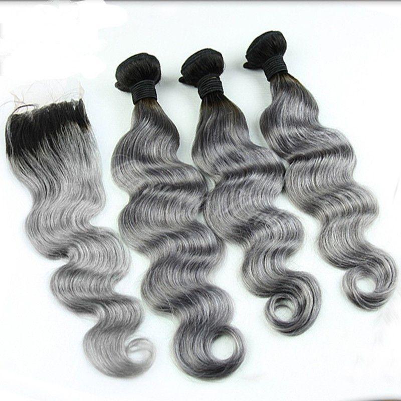 Mongolisches silbernes graues Ombre Haar mit Spitze-Schließung 4 * 4 / Körper-Welle # 1B / graue dunkle Wurzel Ombre mongolische Webart-Bündel mit Schließung