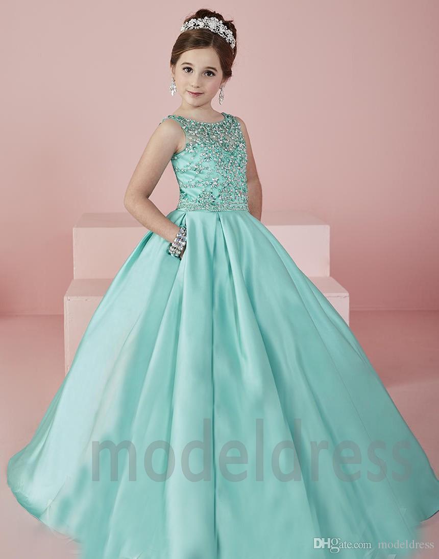 Pageant robes de New Shinning Girl 2019 Sheer Neck perlé cristal Satin menthe vert robes de fille de fleur formelle robe de soirée pour les adolescents enfants