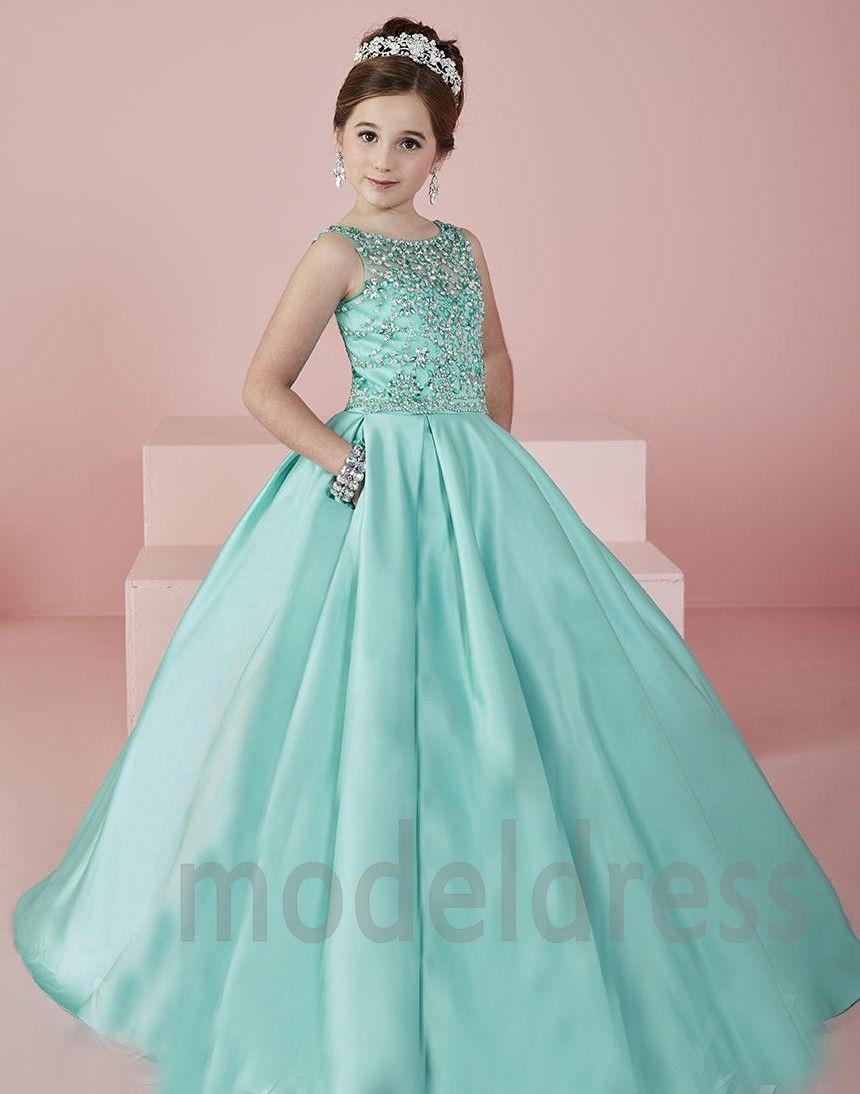 Pageant Vestidos de New Girl Shinning 2019 Flower Verde Sheer Neck contas de cristal de cetim Mint menina vestidos formais vestido de festa para adolescentes Crianças