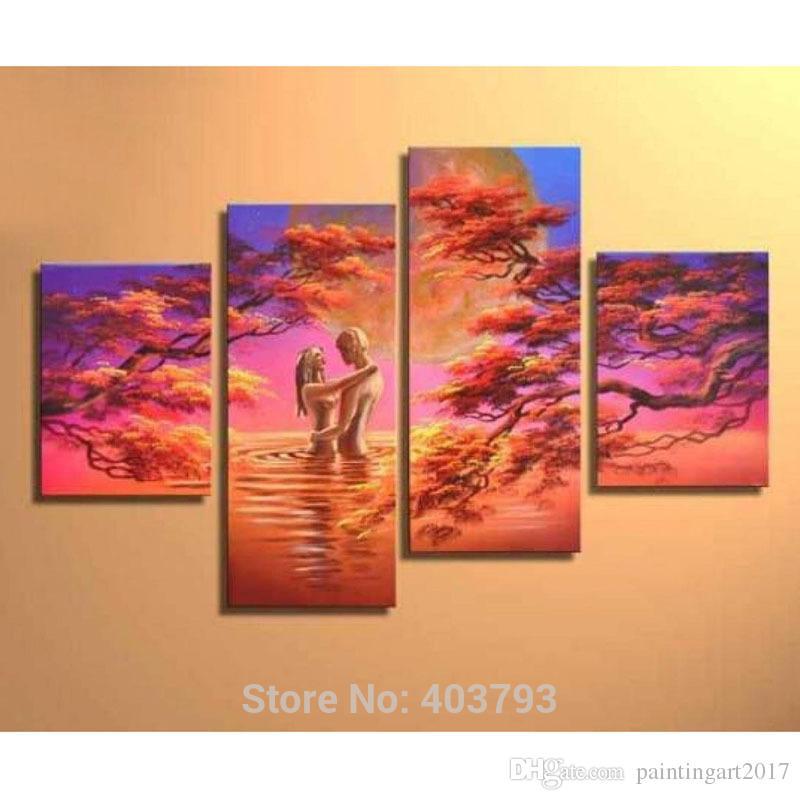 손으로 만든 4 조각 현대 추상 섹시한 누드 연인 그림 캔버스 벽 예술에 유화 침실 홈 장식