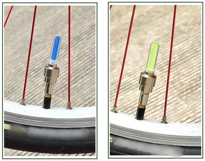 Cool 4 couleurs de choix Vélo Vélo Valve lumière Vélo Accessoires pneu Caps Roue rayons LED Lumière
