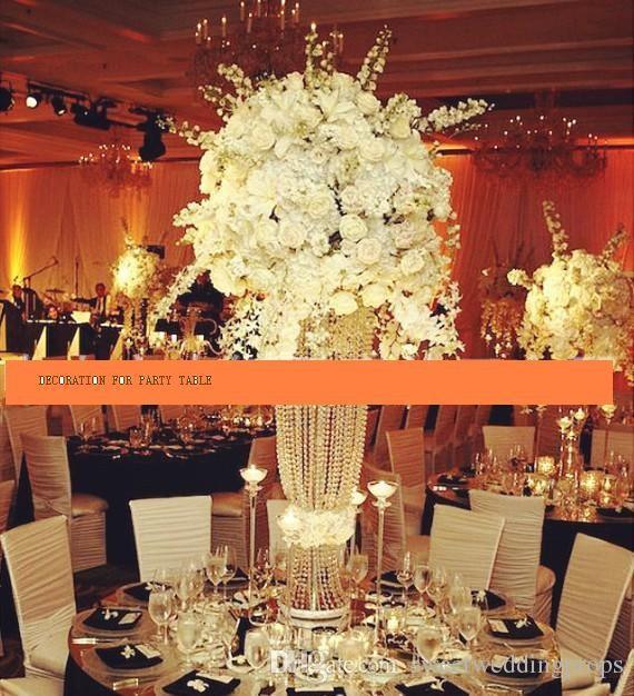 새해 키 크고 아크릴 크리스탈 결혼 도로 리드 결혼식 중심 이벤트 이벤트 파티 장식 / 플라워 홀더 디스플레이 스탠드