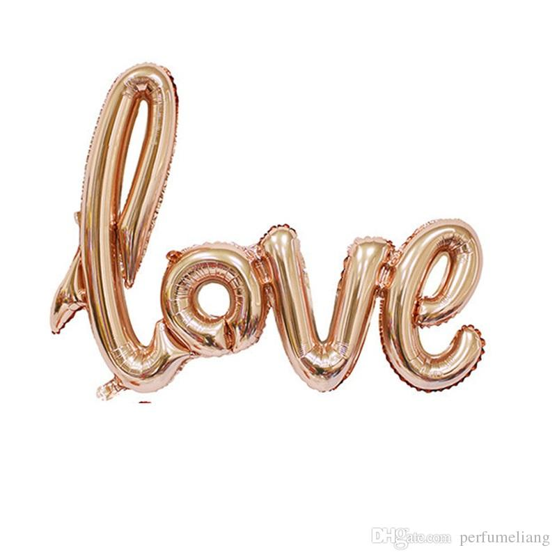 Ligatures LOVE Letter Foil Balloon Anniversary Wedding Valentines Party Decoration Balloon Red Champagne WA1271