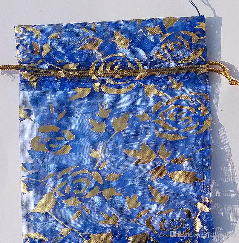 Venda quente de Organza Jóias Sacos de Bolsas de Presente com Cordão Atacado Mix de Cores Impressos Pacote de Cetim para Brincos Colar de Doces
