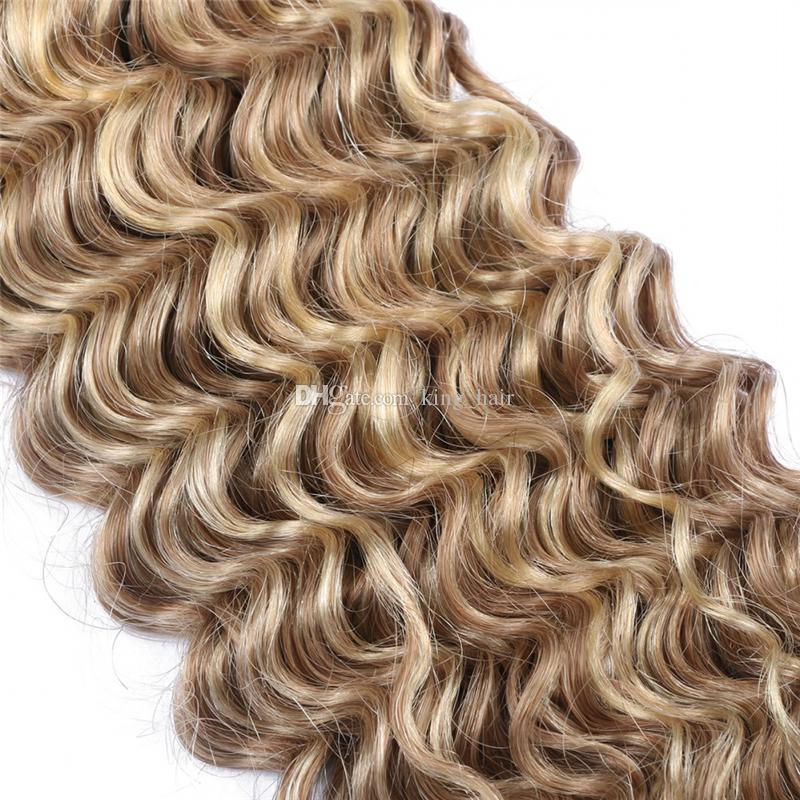 Onda Profunda 8 613 Mistura Média Marrom com Bleach Loira 9A Feixes de Cabelo 300g Profunda Curly Ombre Colorida Extensões de Cabelo Humano