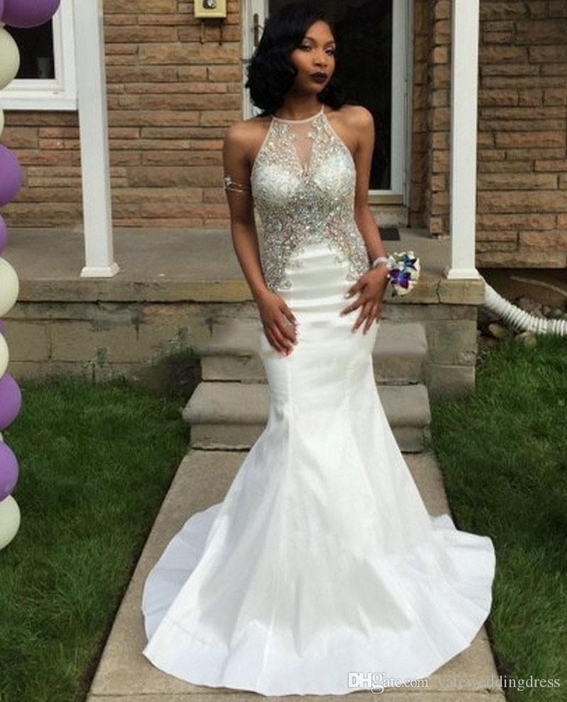 Jewel White Evening Dresses Sheer Neck With Applique Beaded Prom Dresses Open Back Mermaid Style Sweep Train Custom Made Party Gowns 2017