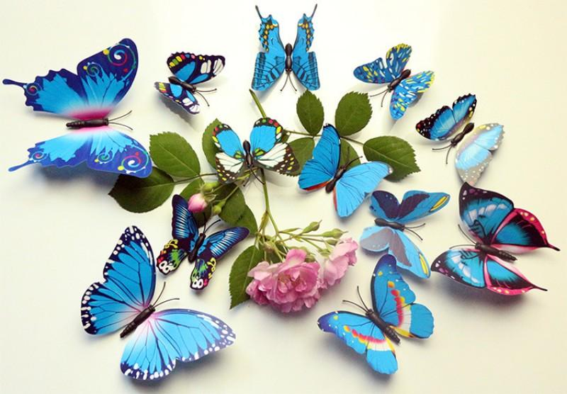 Brand New 3D PVC Magnetic DIY Butterflies Home Room Wall Sticker Decor With Double Side Glue Fridge Magnet Hot Sales