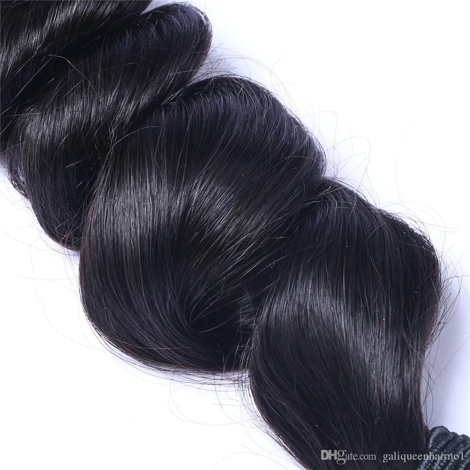 İşlenmemiş Brezilyalı İnsan Remy Virgin Saç Gevşek Dalga Saç Saç Uzantıları Doğal Renk 100g örgüleri / paket Çift atkıların 3Bundles /