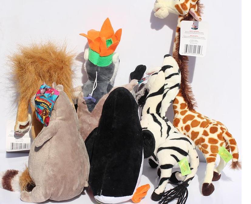 2017 Madagascar Alex Marty brinquedos leão zebra do macaco do girafa Melman Gloria pelúcia pinguim hipopótamo brinquedos macios 25cm /