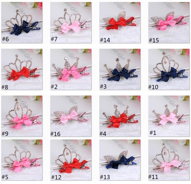 Multi Styles Kids Hair Claws with Bright Rhinestone Crown Princess Barrettes Hair Clip for Girls Hair Accessories Child Hair Jewelry B007