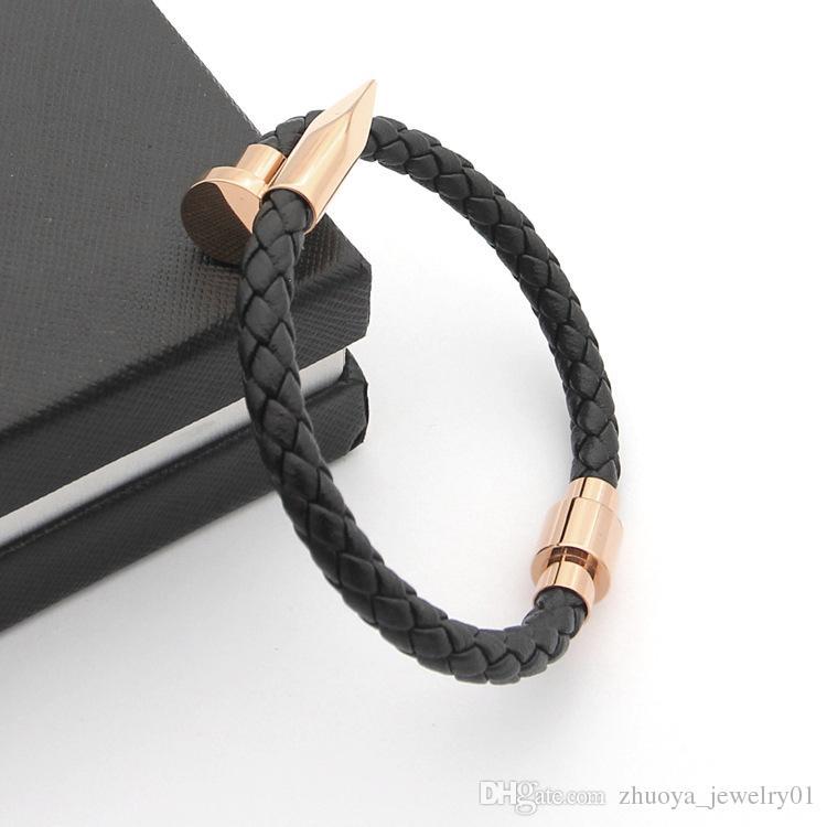 Wholesale foreign trade titanium steel selling men black woven leather rope nail bracelet magnetic buckle bracelet 18K gold bracelet