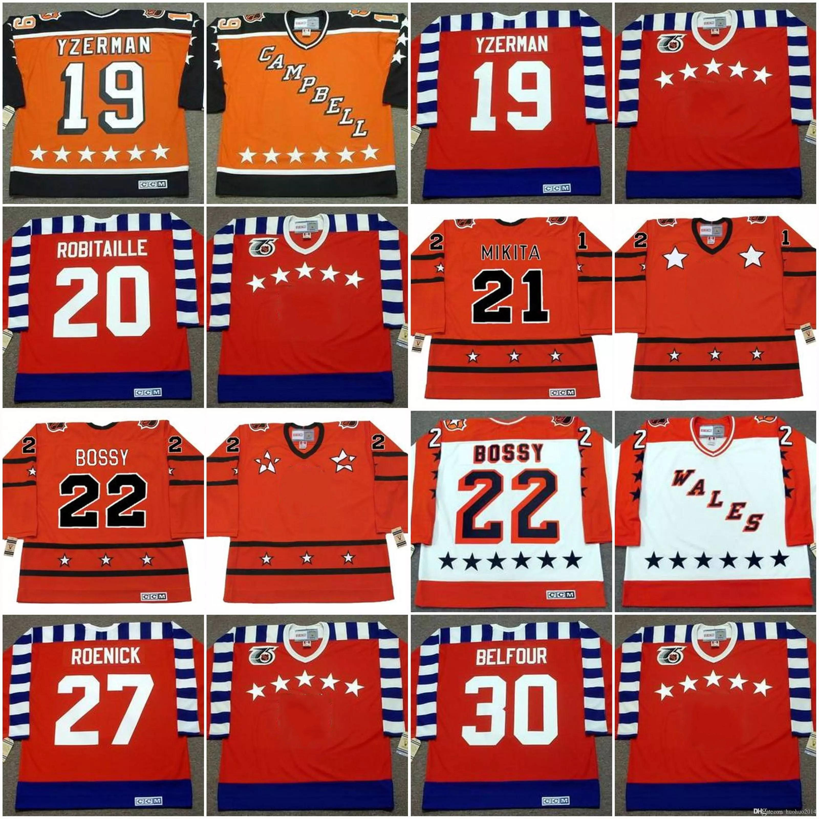 2019 Wales All Star Jersey 19 STEVE YZERMAN 1984 20 LUC ROBITAILLE 21 STAN  MIKITA 22 MIKE BOSSY JEREMY ROENICK Hockey Jerseys From Huohuo2014 45bd08037