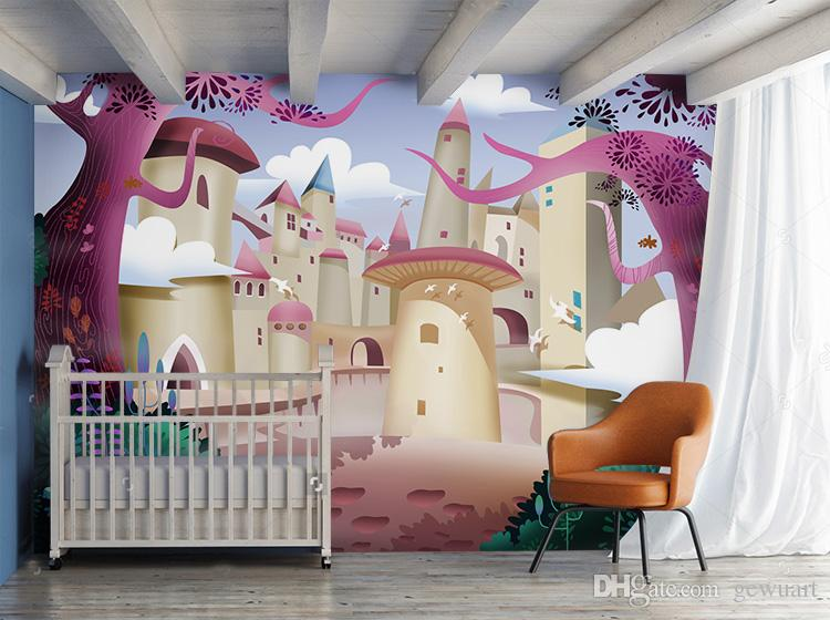Gewu Art Lovely Children Room Girls Pink Dream Castle The Little Princess Background Scenery Wallpaper Screen From Gewuart