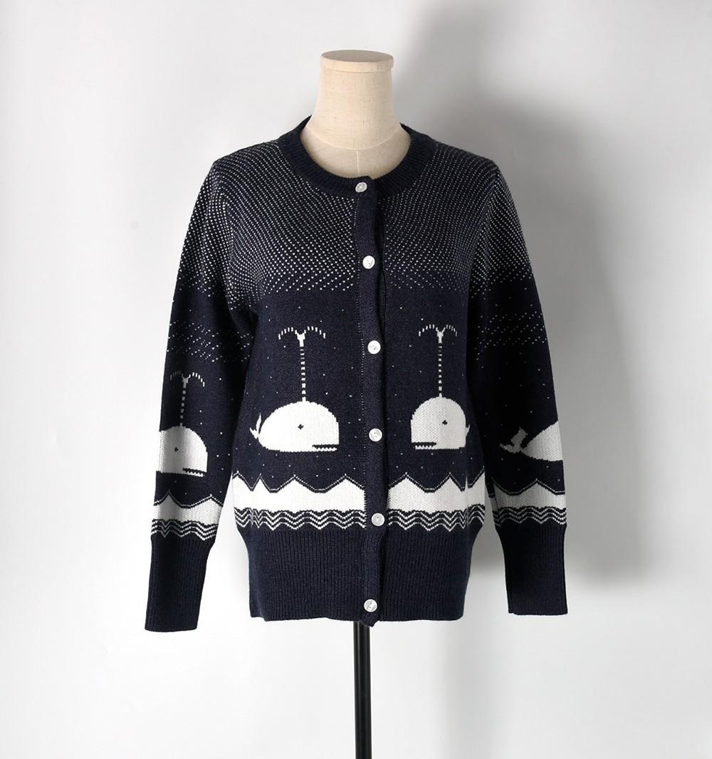 43bedf2a7c5 2019 Cardigans Female 2017 Winter Thicken Warm Sweater Women Runway Design  Whale Navy Casual Long Sleeve Knitted Sweater Coat From Jingyanggroup