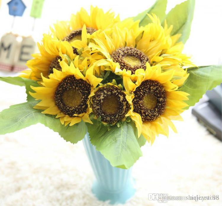2 Bunches Nice Quality Artificial Sunflower Flowers Bouquet For Home ...