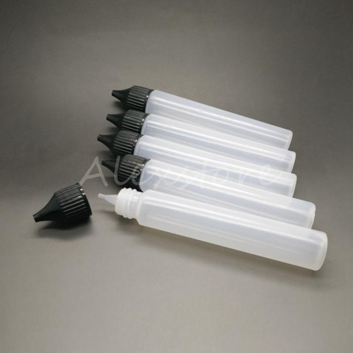 Flasche Leere Flasche 30 ml PE-Verschlusskappe Dropper Pen Stil E-Liquid Dripper Flasche mit langen, kindersicheren schwarzen Kappen auf Lager