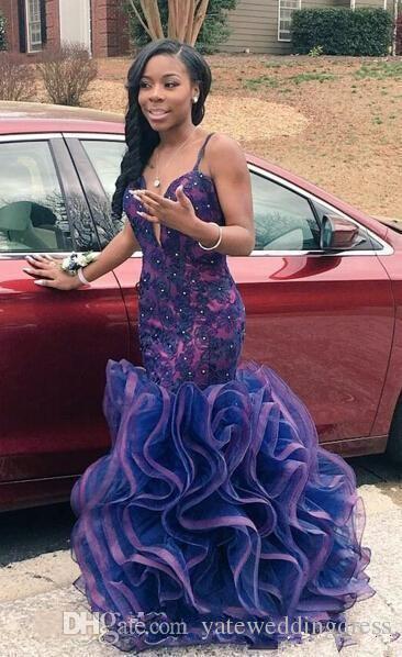 2016 sirena largos vestidos de baile Sexy Spaghetti cuello en V profundo sin espalda abalorios volantes Organza con gradas piso de longitud vestidos de fiesta de noche africanos