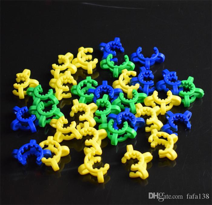 Pupulaire 10mm 14mm 19mm En Plastique Keck Clip Laboratoire Laboratoire Pince De Clip En Plastique Verrouiller Adaptateur En Verre pour Glass Bong NC