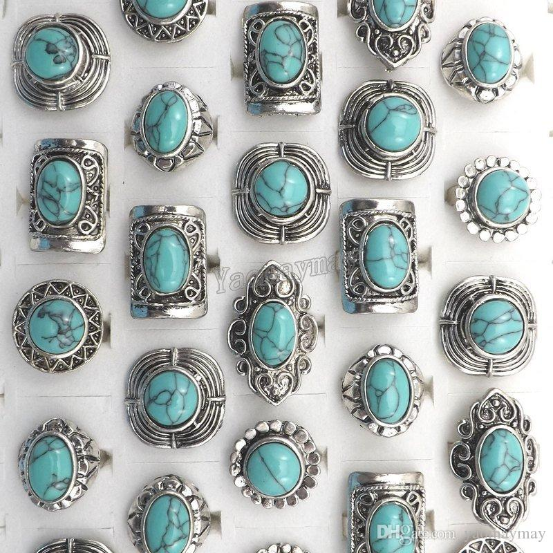 Brand New Vintage Turquoise Stone Rings Mixed Design Adjustable Antique Tibetan Silver Rings Wholesale